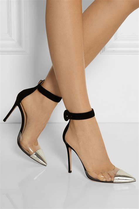 GIANVITO ROSSI Leather, PVC and Suede Pumps   Shoes Post