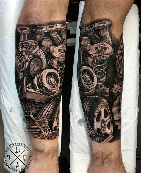 automotive tattoo sleeve mechanic mens forearm piece best tattoo design ideas