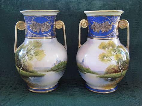 Noritake Vases by Pair Of Antique Noritake Painted Mirror Vases 1908