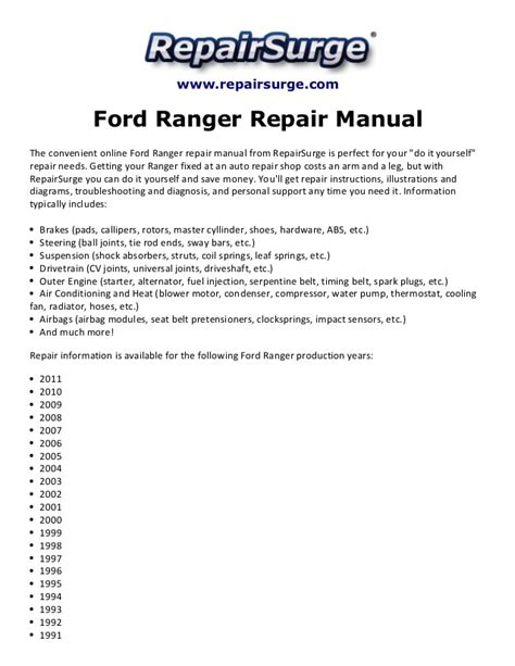 how to download repair manuals 2005 ford ranger seat position control ford ranger repair manual 1990 2011