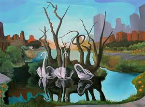 Swans amp elephants in the city bk the artist the art of brian