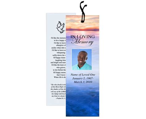 memorial bookmarks template free 12 best images about memorial bookmarks printable