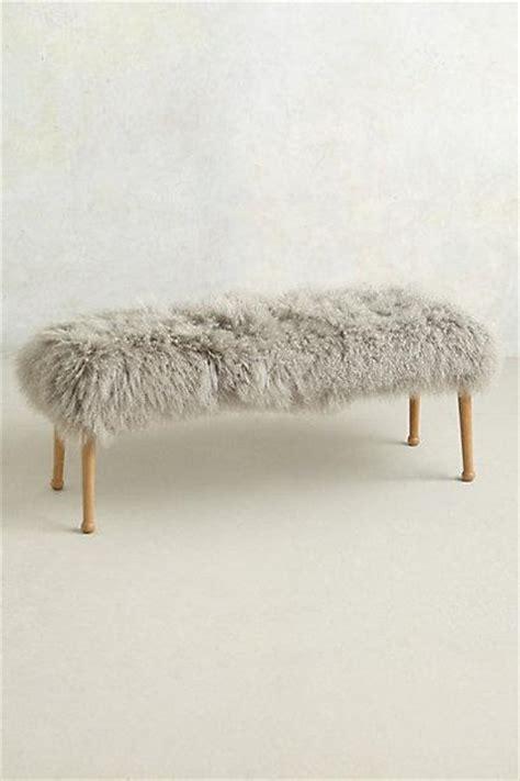 pink mongolian fur bench luxe fur grey bench