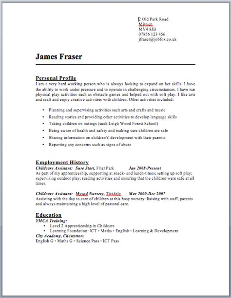 Resume Uk Exle Cv School Leavers Uk Buy Original Essays