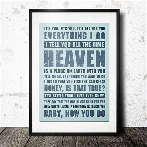 personalised favourite music lyrics poster by magik