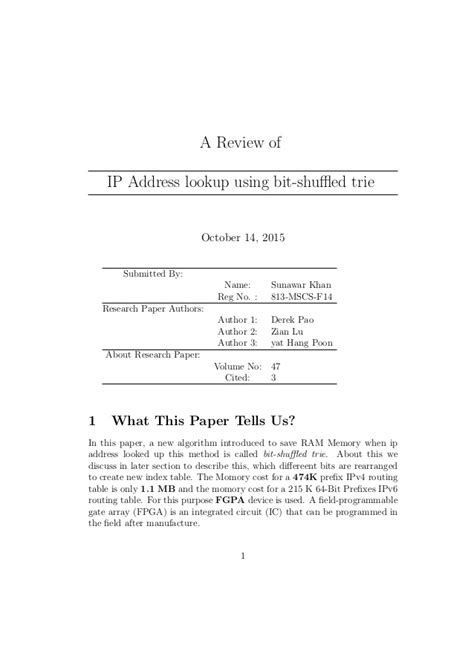 Ip To Address Lookup Ip Address Lookup Using Bit Shuffled Trie Article Review