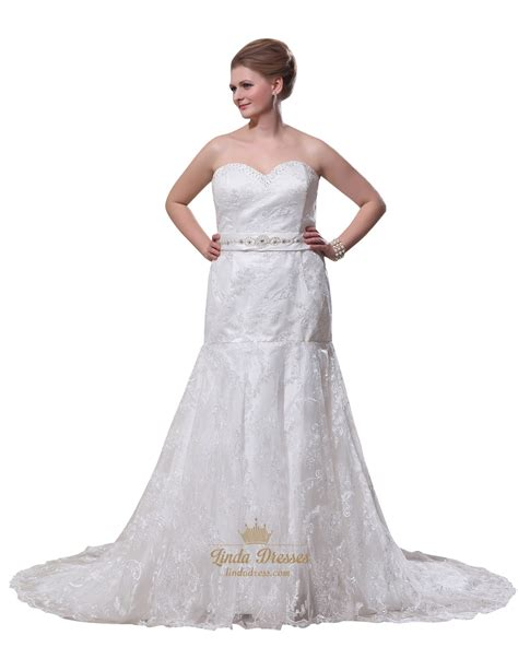 ivory sweetheart strapless lace mermaid wedding dress with