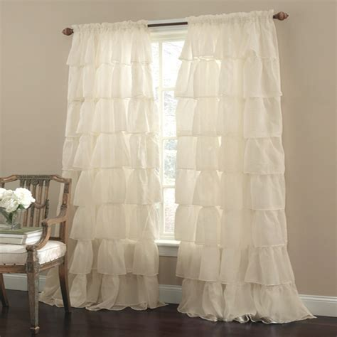 sheer ruffled curtains lorraine home gypsy sheer ruffled rod pocket curtain panel