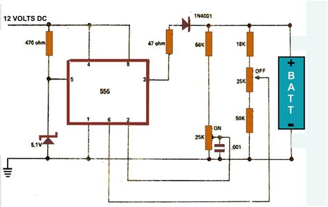 battery in a circuit diagram battery charger circuit diagram using ic 555