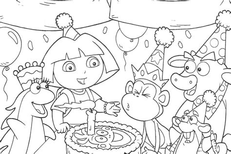 dora the explorer happy birthday coloring pages all