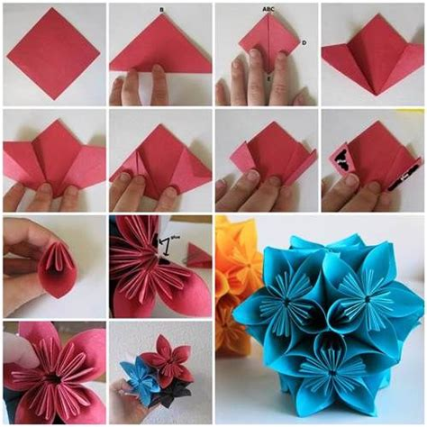 How To Make A Flower With Construction Paper - how to make beautiful origami kusudama flowers beautiful