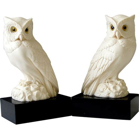 owl bookends a giannelli white alabaster owl bookends statue pair black bases sold on ruby