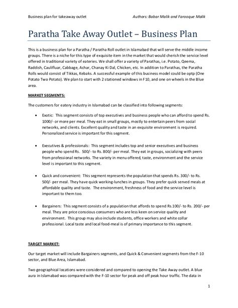 Small Business Agreement Template business plan of paratha takeaway