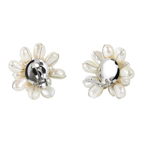 Handmade Statement Earrings - large white pearl floral cluster stylish clip on statement