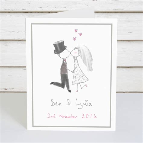 Wedding Card To by Personalised And Groom Wedding Card By Violet