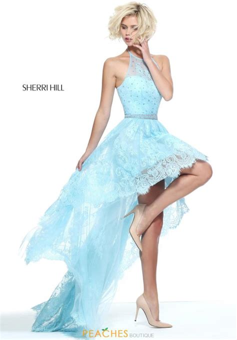 light blue high low dress sherri hill dress 51226 peachesboutique com