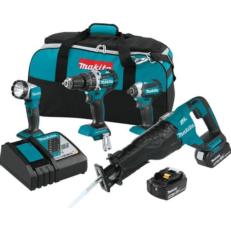makita cordless drill with light makita 18 volt 4 piece 5 0ah lxt lithium ion brushless