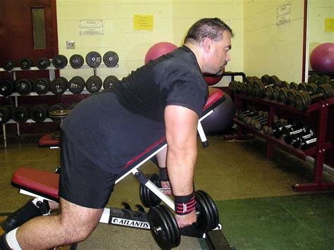 dumbbell row on bench exercise of the week one arm dumbbell rows