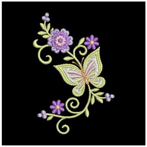 Bv4765ls Embroidery Flower And Butterfly butterfly flower embroidery makaroka