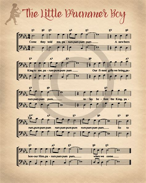 printable xmas sheet music christmas printable sheet music vintage little drummer boy