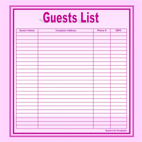 baby shower guest list template best photos of guest list print out free baby shower