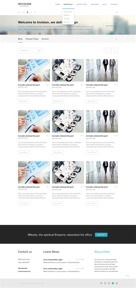 layout vision blog invision corporate site template by createit pl themeforest
