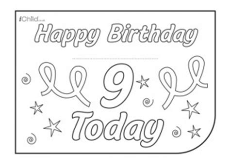 9th birthday card template birthday card design template for 9 year 9th birthday