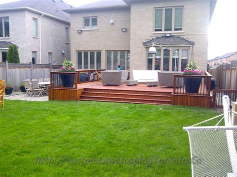 2 Decks With Interlock And Landscaping Design Toronto Landscape Deck Patio Designer