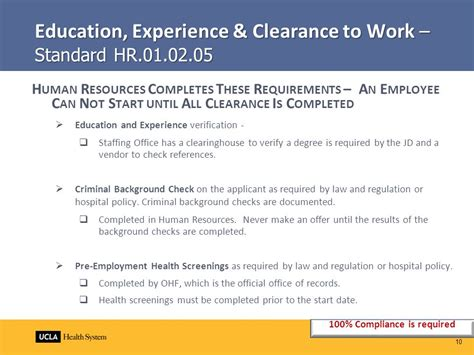 Hospital Background Check Policy 2010 Hr Standards Management Staff Education Ppt