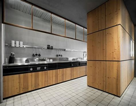 modern kitchen with natural knotty pine surface natural
