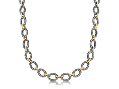 Alternate Oval Cable And Polished Chain Link Necklace In