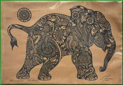 thai traditional art of little elephant calf by silkscreen