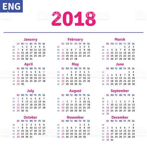 Calend Feriados 2018 Ingl 233 S Calendario 2018 Illustracion Libre De Derechos