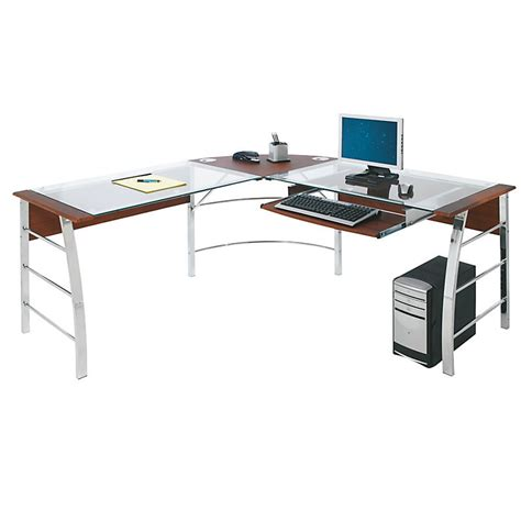 l shaped glass computer desk realspace mezza quot l quot shaped glass computer desk cherry chrome 620475 desks tables