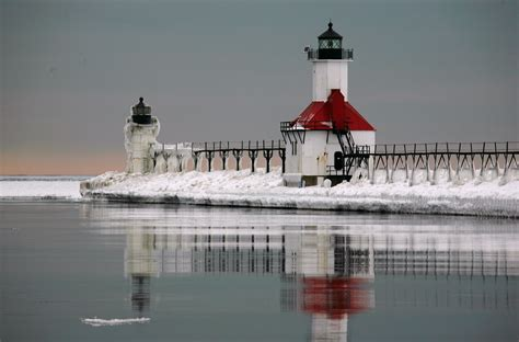 Lake Front House by Lighthouse At St Joseph North Pier Lake Michigan X Post
