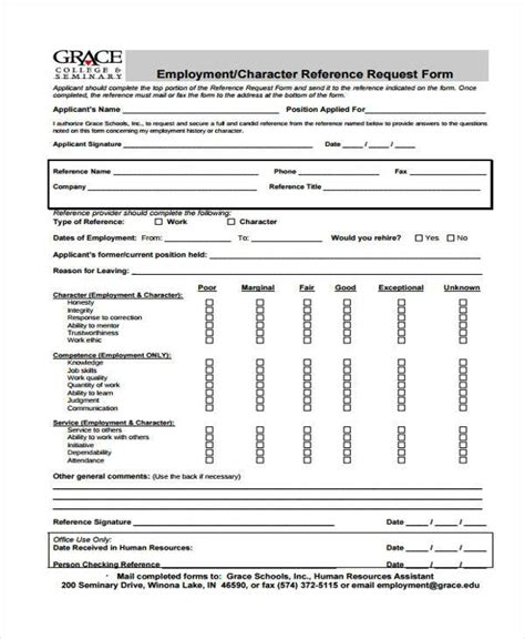 employment reference check form template employment form templates