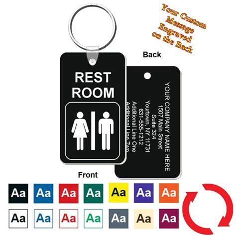 Bathroom Key Tag Custom Back Restroom Bathroom Key Tag Engraved Mini 1 3 4 Inch X 3 Inch
