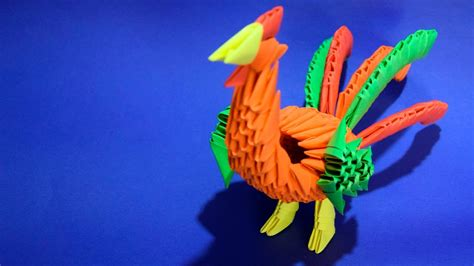 origami rooster tutorial 3d origami rooster bird cock of paper tutorial youtube