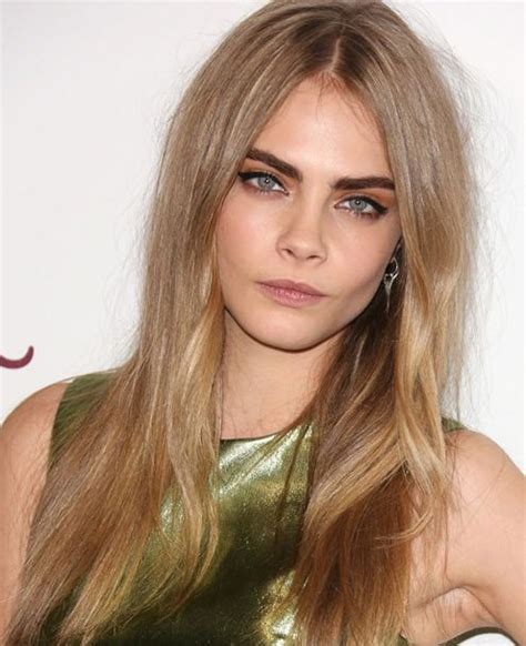 short haircuts hair parted in middle cara delevingne long straight hairstyle casual everyday