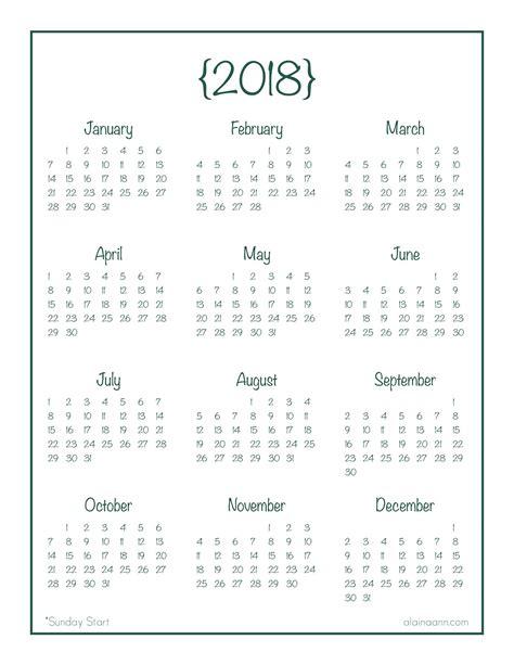 printable calendar 2018 bullet journal 2018 year at a glance calendar free printable planner
