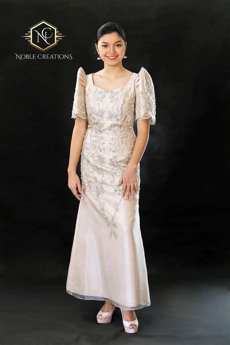 filipiniana dress embroidered  beaded mestiza maria