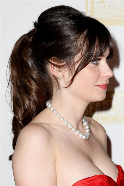 Pin Up Ponytail Hairstyles by Zooey Deschanel Pin Up Ponytail With Wispy Bangs For