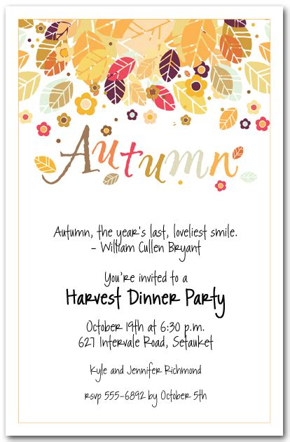 Fall Wedding Invitation Templates by Autumn Season Invitations Fall Invitations