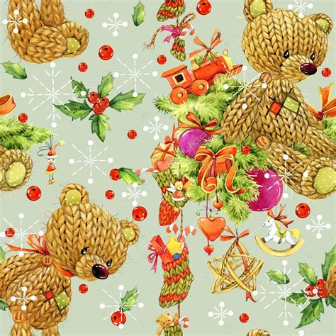 christmas tree new year pattern christmas seamless pattern cute bear christmas wrapping