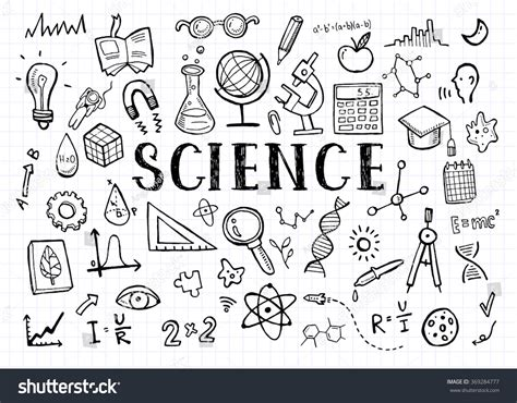 doodle science science doodles on white grid paper stock vector 369284777