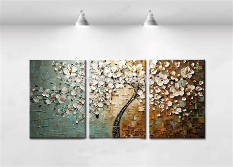painting for home decor hand painted abstract white tree flower textured knife painting on canvas modern oil picture 3