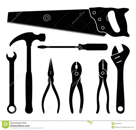 Set Aa Black White tools stock images image 31263414