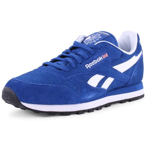 sports direct reebok shoes reebok classic leather mens trainers in blue