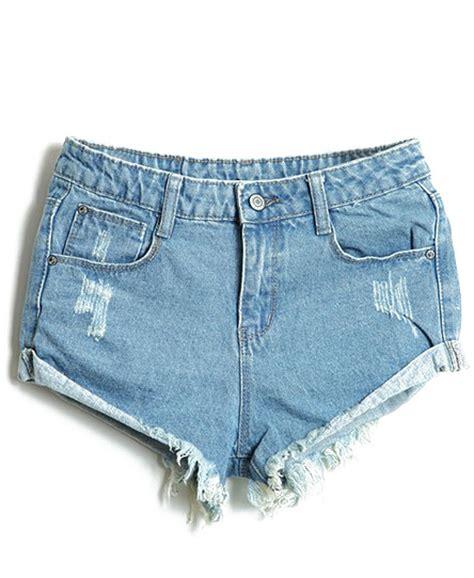 Denim Ripped Shorts 27 28 12363 light blue bleached ripped denim shorts shein sheinside