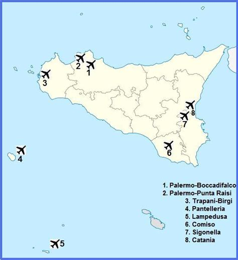 map of airports airports in sicily italy map